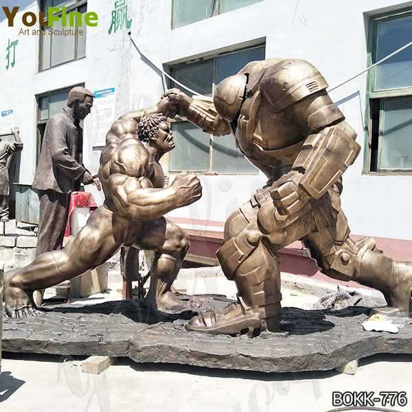 Famous Movie Star Large Bronze Hulk and Samurai Statue for Sale