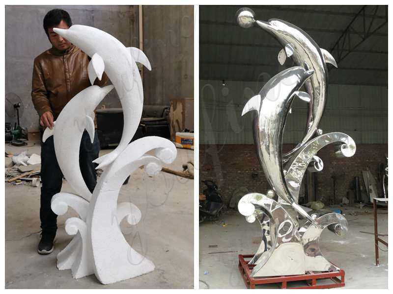 Garden Stainless Steel Dolphin Sculpture