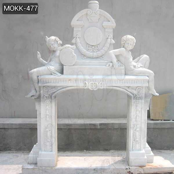 Hand Carved Decorative Marble Fireplace with Sitting Children Statue for Sale MOKK-477
