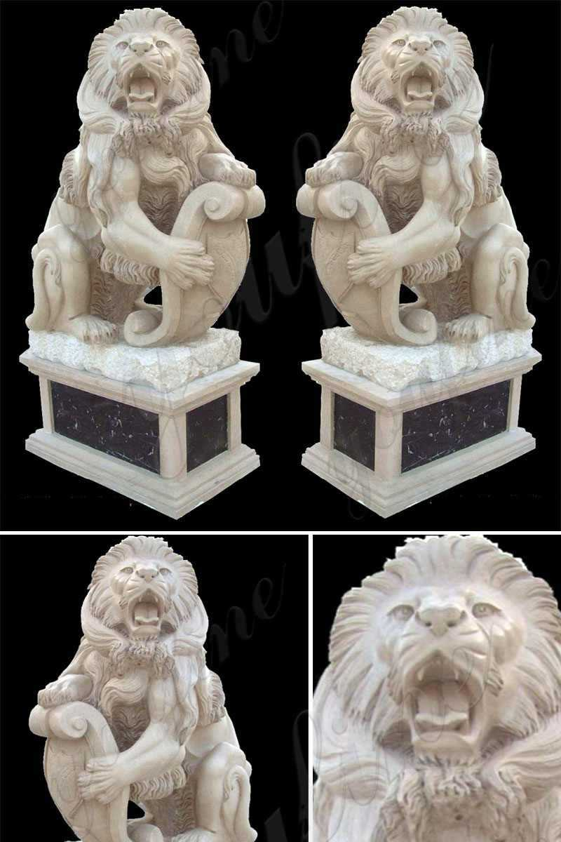 Hand Carved Guardian Marble Lion Statue for Sale