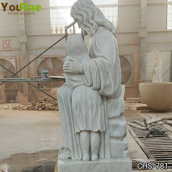 Hand Carved Marble Statue of Jesus with the Children for Sale
