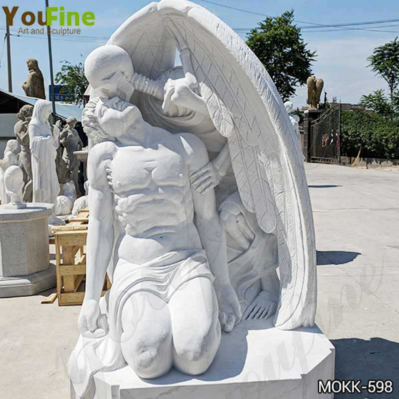 Hand Carved White Marble The Kiss of Death Statue for Sale MOKK-598