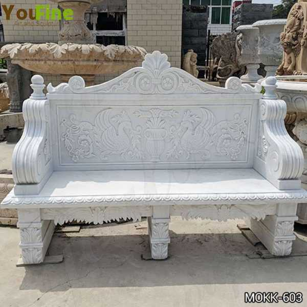 Hand Carved Outdoor White Marble Garden Bench Supplier MOKK-603
