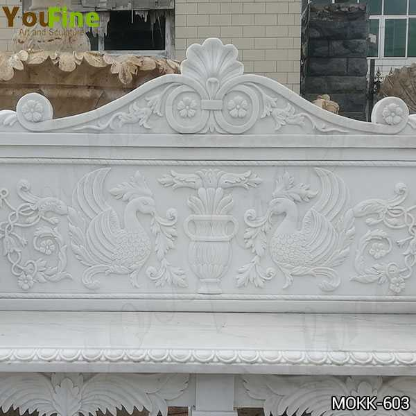Hand Carved Outdoor White Marble Garden Bench Supplier