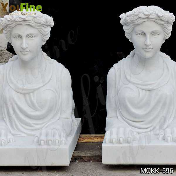 Hand Carved Outdoor White Marble Sphinx Statues for Yard