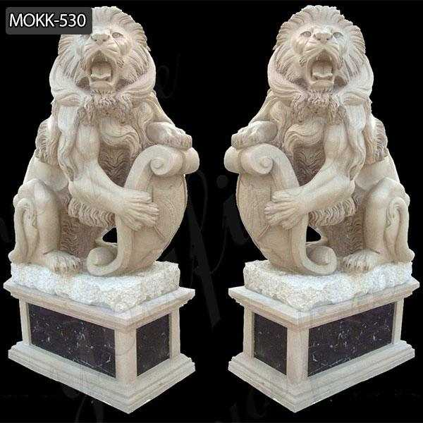 Hand Carved Western Guardian Marble Lion Statue for Sale MOKK-530