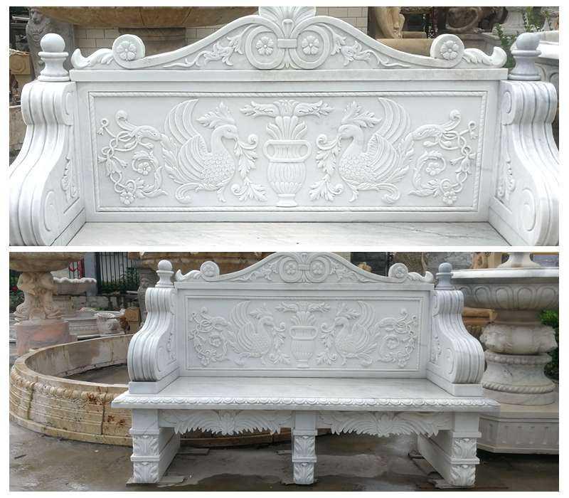 Hand Carved White Marble Garden Bench Supplier MOKK-603