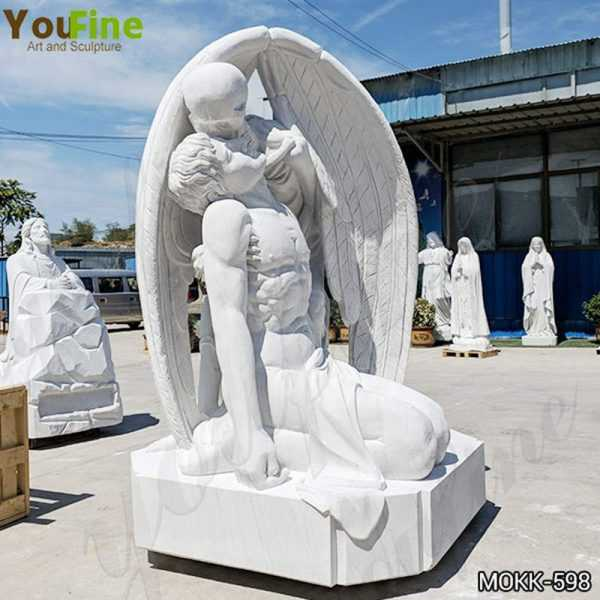 Hand Carved White Marble The Kiss of Death Statue for Sale