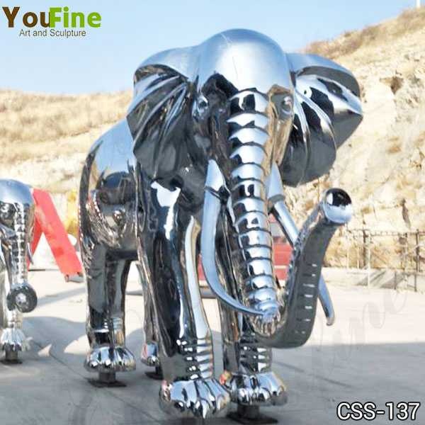 High Polished Large Stainless Steel Elephant Sculpture Decor