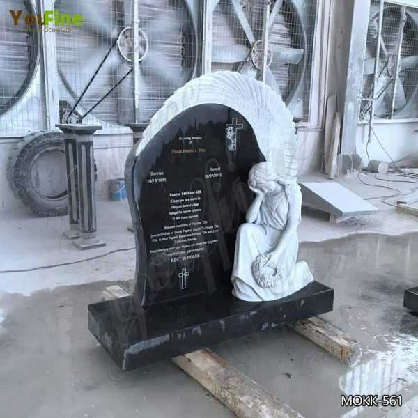 High Polished Upright Black Granite Angel Tombstone