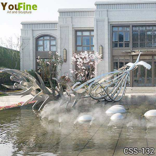 Large Beautiful Modern Stainless Metal Phoenix Bird Sculpture for Sale