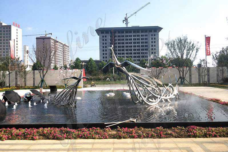 Large Beautiful Modern Stainless Phoenix Bird Sculpture for Sale