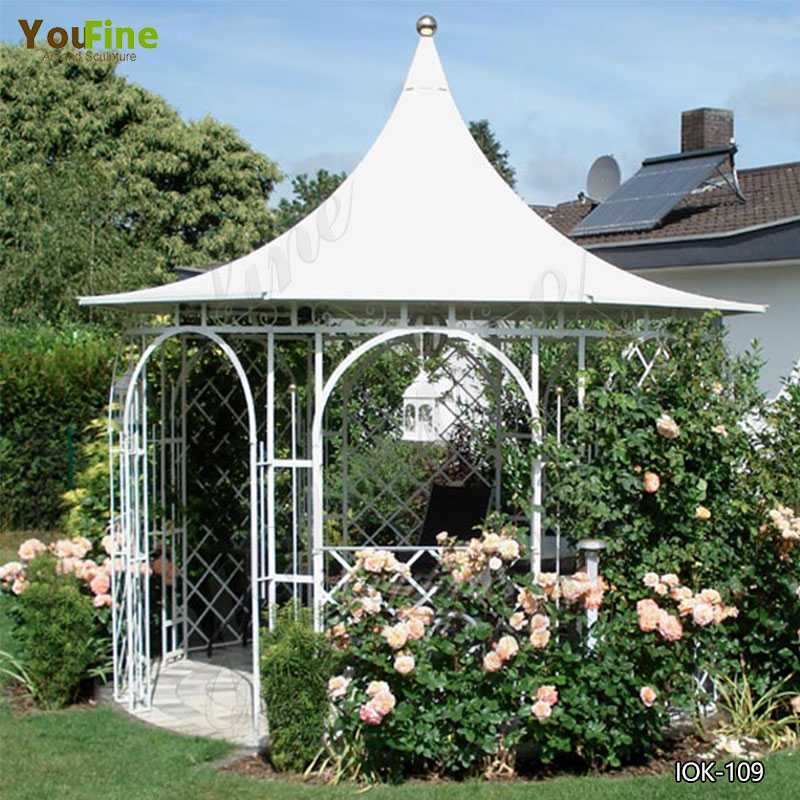 Large Cast Metal Decorative Wrought Iron Garden Gazebo for Sale IOK-109