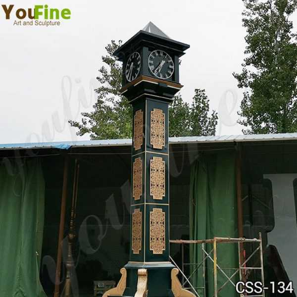 Large Outdoor Modern Bell Tower Stainless Steel Clock Sculpture for Sale