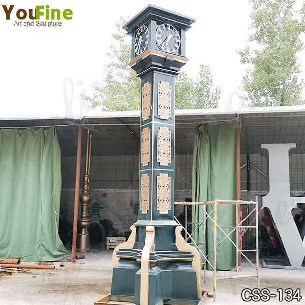 Large Outdoor Modern Bell Tower Stainless Steel Clock Sculpture