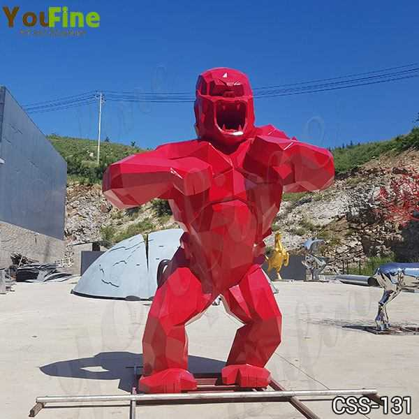 Large Red Stainless Steel Orangutan Sculpture Made for Our Customer