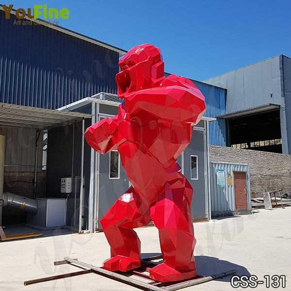 Large Red Stainless Steel Orangutan Sculpture
