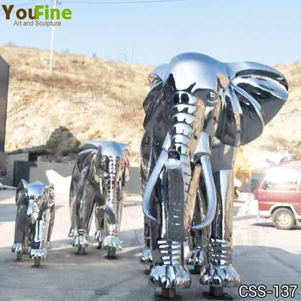 Large Stainless Steel Elephant Sculpture Decor