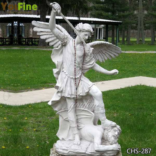 Life Size Archangel Michael Slaying the Devil Marble Statue Supplier CHS-287