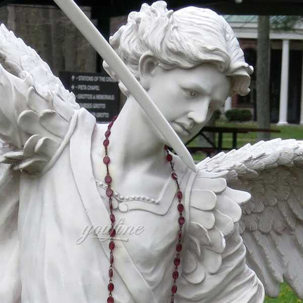 Life Size Archangel Michael Slaying the Devil Marble Statue