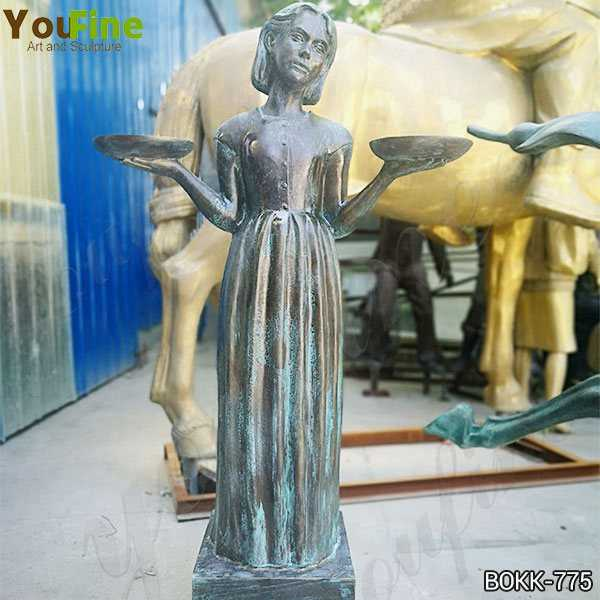 Custom Made Life Size Bronze Lady Holding Two Plates Statue  BOKK-775