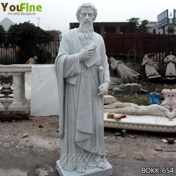 Life Size Catholic White Marble Saint Paul the Apostle Statue Supplier CHS-250
