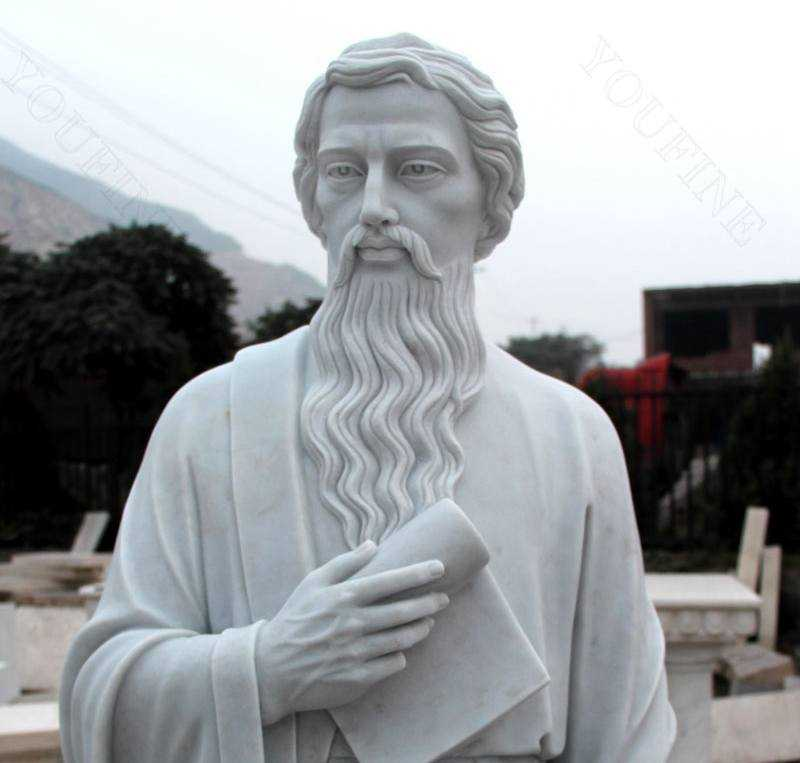 Life Size Catholic White Marble Saint Paul the Apostle Statue