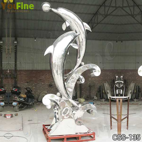Life Size Outdoor Garden Stainless Steel Dolphin Sculpture for Sale CSS-135