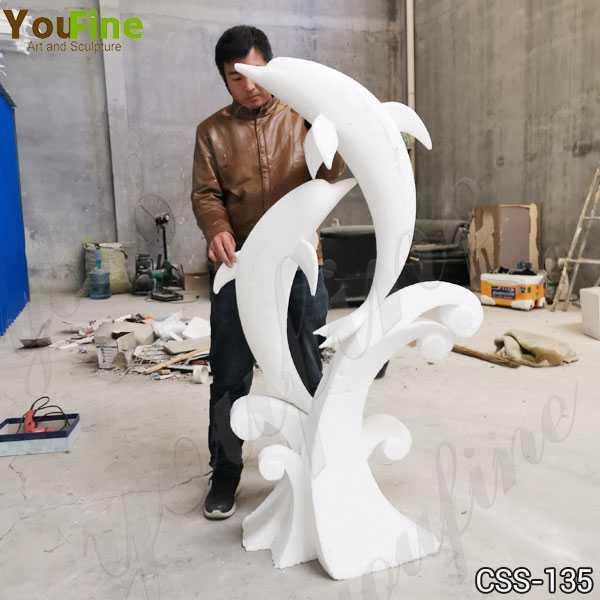Life Size Outdoor Garden Stainless Steel Dolphin Sculpture
