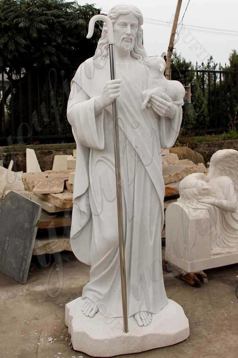 Life Size Religious Jesus the Good Shepherd Marble Statue for Sale