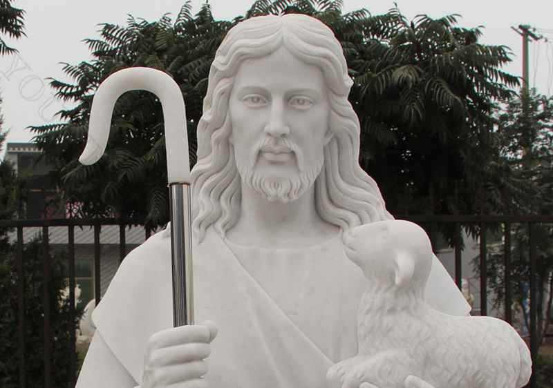 Life Size Religious Jesus the Good Shepherd Marble Statue