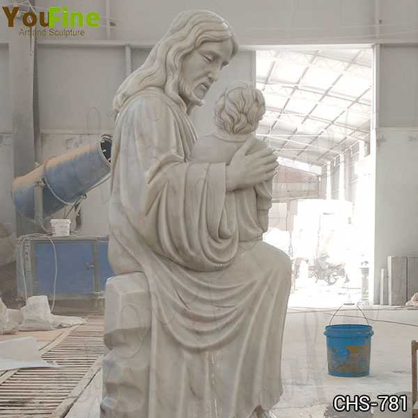 New Hand Carved Marble Statue of Jesus with the Children for Sale