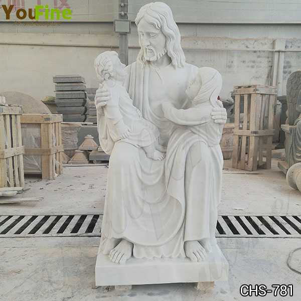 New Hand Carved Marble Statue of Jesus with the Children for Sale CHS-781