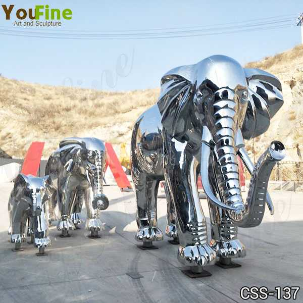 Outdoor High Polished Large Stainless Steel Elephant Sculpture Decor