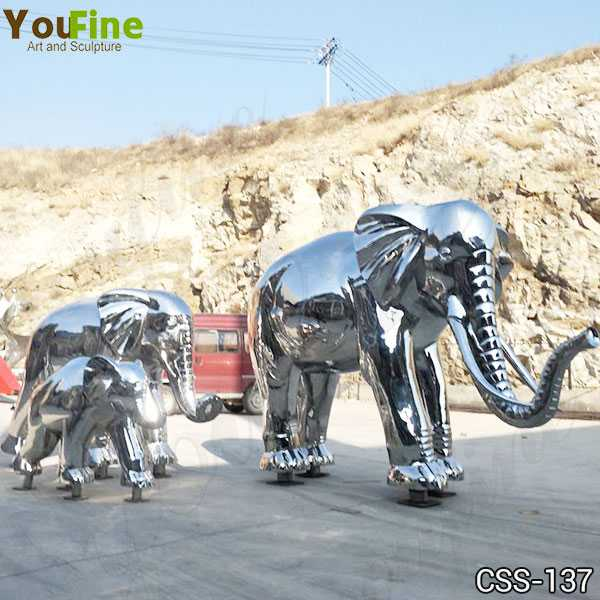 Outdoor High Polished Large Stainless Steel Elephant Sculpture Decor CSS-137