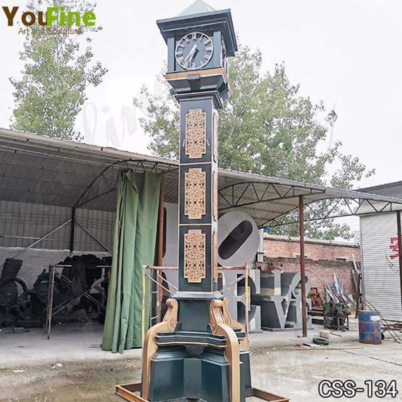Large Outdoor Modern Bell Tower Stainless Steel Clock Sculpture for Sale CSS-134