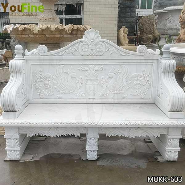 Outdoor White Marble Garden Bench Supplier MOKK-603