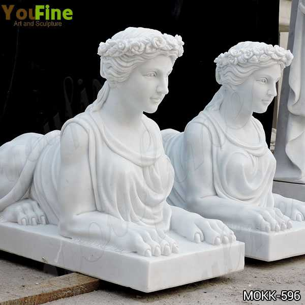 Outdoor White Marble Sphinx Statues for Yard