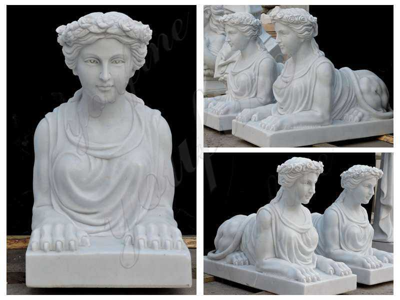 Outdoor White Marble Sphinx Statues