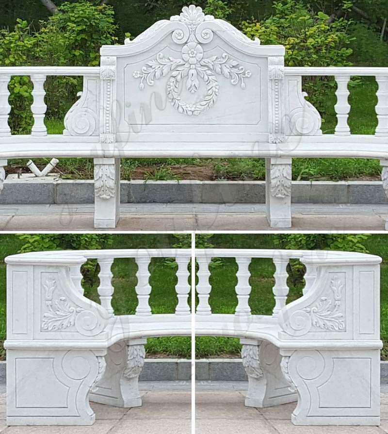 Outdoor marble garden bench