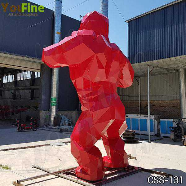 Red Stainless Steel Orangutan Sculpture Made for Our Customer