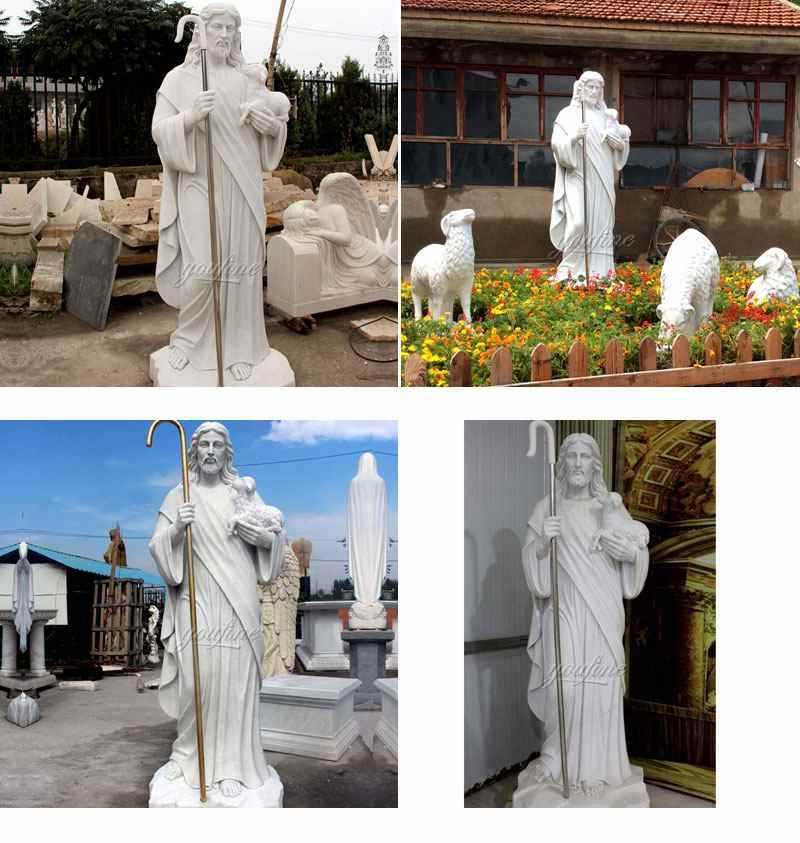Religious Jesus the Good Shepherd Marble Statue for Sale