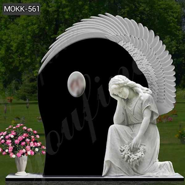 High Polished Upright Black Granite Angel Tombstone Supplier MOKK-561