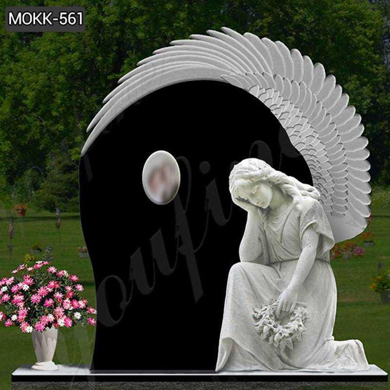 High Polished Upright Black Granite Angel Tombstone Supplier MOKK-561