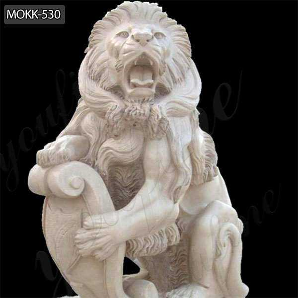 Western Guardian Marble Lion Statue for Sale