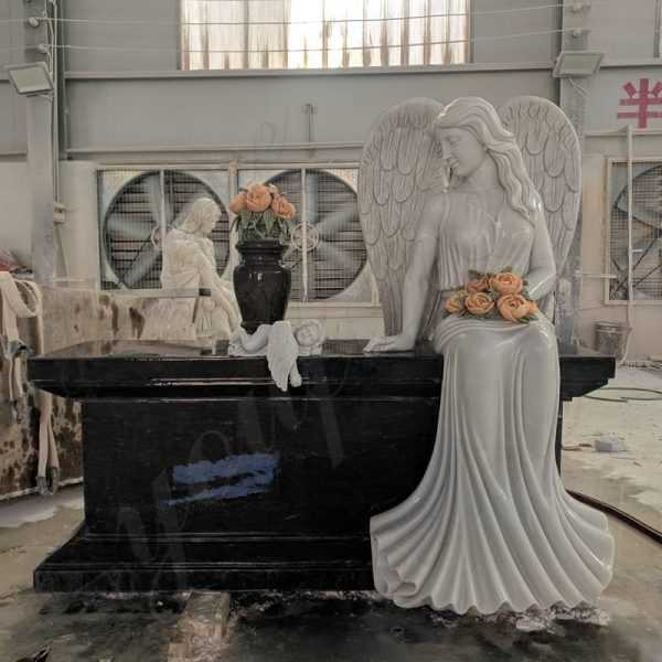 Where to Buy Black Granite Headstone with Weeping Angel Statue from China Factory