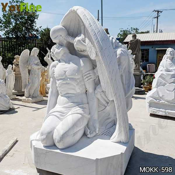White Marble The Kiss of Death Statue for Sale MOKK-598