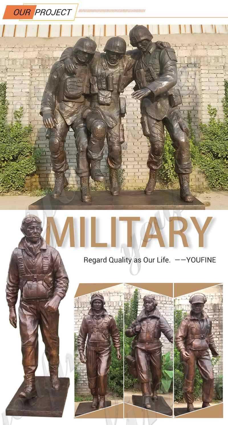 bronze milltary statues