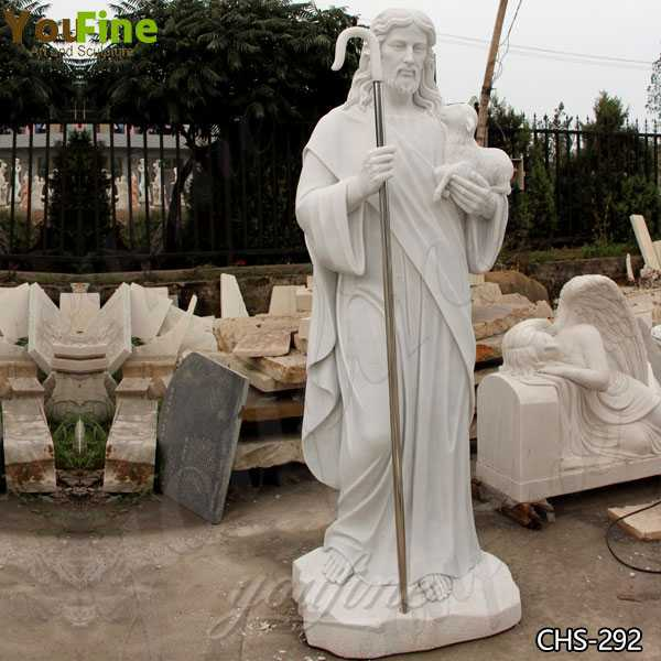 Life Size Religious Jesus the Good Shepherd Marble Statue for Sale CHS-292