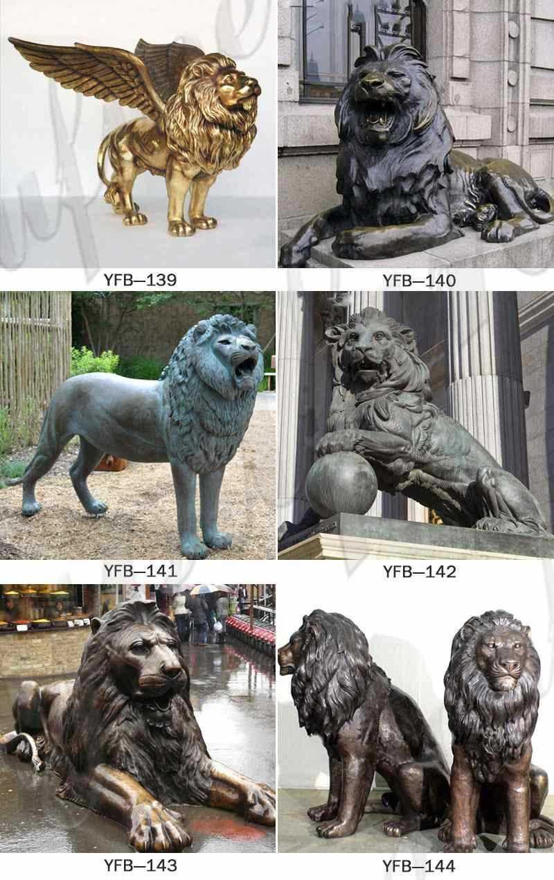 Bronze Lion Statues for Front Porch